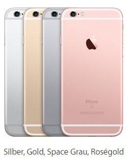 Farben des Apple iPhone 6s mit Telekom Vertrag