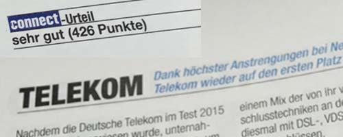 Telekom - sehr gut beim connect Netztest